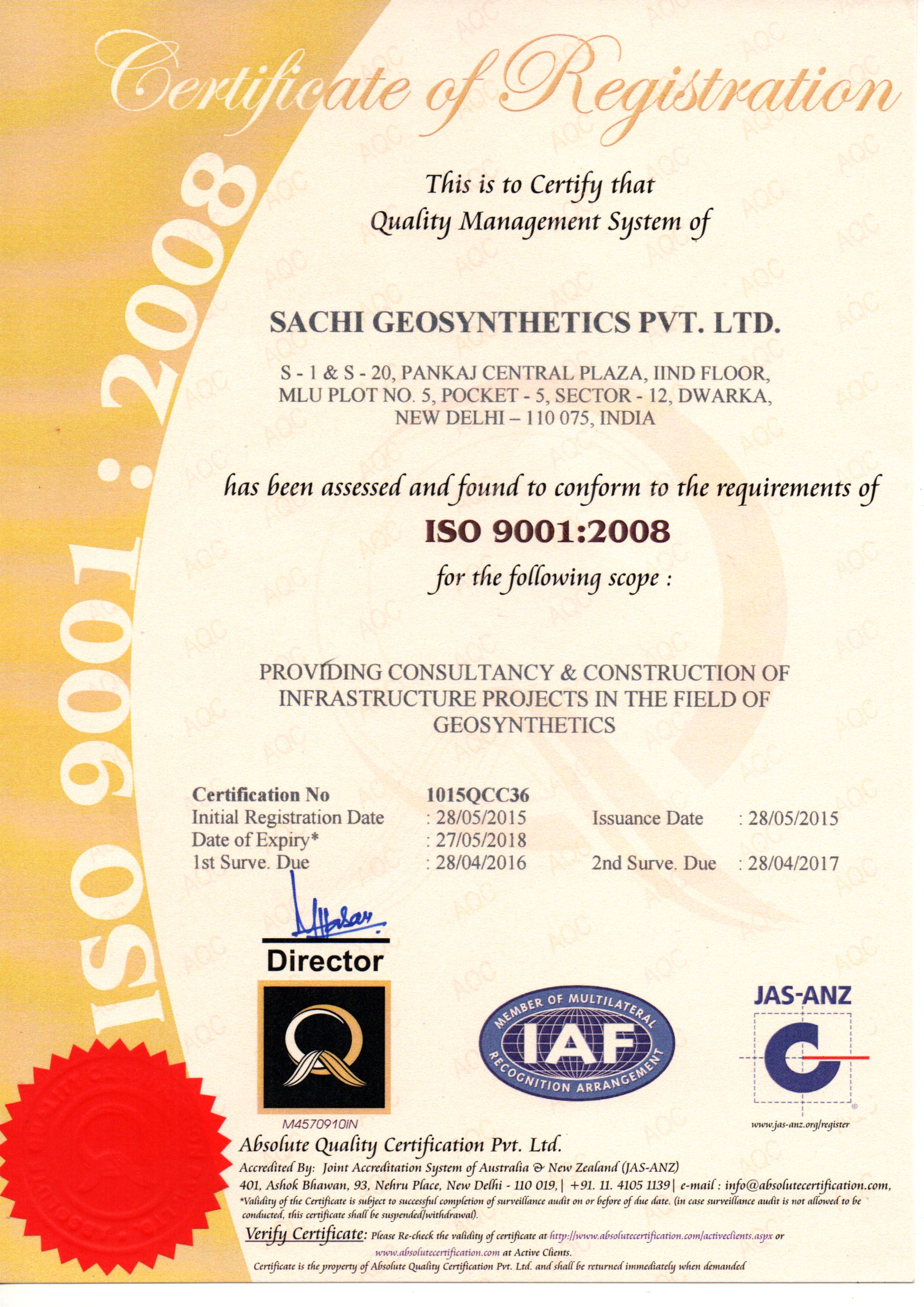 ISO Certification  2008